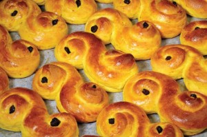 Saffron buns served on St. Lucia's Day